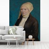 Fotobehang vinyl - Portret van een Zuid-Duitse vrouw  - Schilderij van Hans Holbein de Jonge breedte 375 cm x hoogte 500 cm - Foto print op behang (in 7 formaten beschikbaar)