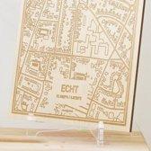 Kaart Echt -  Gegraveerde stadskaart Hood&Wood - Hout, A4