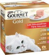 Gourmet Gold Fijne Mousse - Zalm & Kip - Kattenvoer - 8 x (8 x 85) g