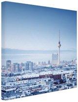 Berlijn winter stadslandschap Canvas 80x120 cm - Foto print op Canvas schilderij (Wanddecoratie woonkamer / slaapkamer) / Steden Canvas Schilderijen