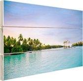 Palmbomen in de tropische oceaan Hout 30x20 cm - Foto print op Hout (Wanddecoratie)