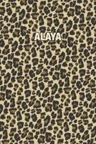 Alaya: Personalized Notebook - Leopard Print (Animal Pattern). Blank College Ruled (Lined) Journal for Notes, Journaling, Dia
