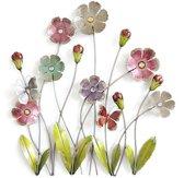 Goed YE® Grote 3D Metaal Schilderij Wanddecoratie Bloemen 74x74cm