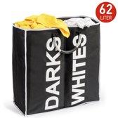 Draagbare Wassorteerder Bag - Dubbele Wassorteer Mand 2 Vakken - Opvouwbare Sorteer Wasgoed Wasmand Zak - Donkere/Witte Was - Zwart