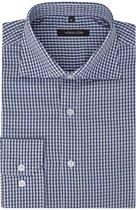 vidaXL Zakelijk overhemd heren wit en marineblauw geblokt maat XL