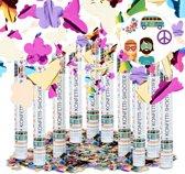 relaxdays 10x confetti kanon - kleurrijke party popper - vlinders bloemen - 40 cm shooter