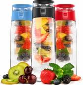 Waterfles met Fruit Infuser - Fruitwater Filter Fles - Fruitfilter Sport Fles - 100% BPA Vrij - Groot Formaat - 800ML - Zwart