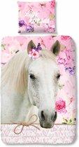 Good Morning 2033-P Wit paard - kinderdekbedovertrek - eenpersoons - 140x200/220 cm  - 100% katoen - roze
