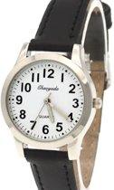 Horloge- Zwart-Genuine Leatherbandje- 29 mm