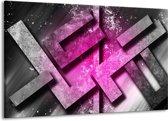 Canvas schilderij Abstract | Roze, Grijs, Wit | 140x90cm 1Luik