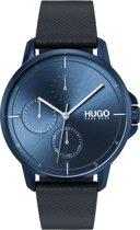 HUGO HU1530033 #FOCUS -  Polshorloge - Leer - Blauw - Ø 42 mm