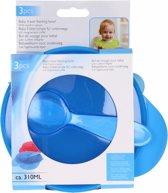 Eetkom met lepel blauw - babyeetkom voor onderweg - baby