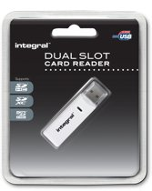Integral Dual Slot Card Reader USB 2.0 voor SDHC - MicroSDHC / Wit