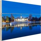 De Retreat bij nacht Hout 120x80 cm - Foto print op Hout (Wanddecoratie)