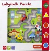 Labyrint kinderpuzzel van hout verkeer met auto's