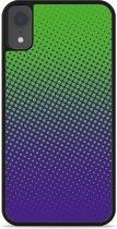iPhone Xr Hardcase hoesje lime paarse cirkels