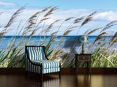 Fotobehang Papier Strand, Zee   Blauw   368x254cm