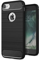 Luxe Apple iPhone 6s – Zwart – Geborsteld TPU carbon case – Shockproof cover