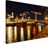 Ophaalbrug in het centrum van de Nederlandse stad Haarlem Canvas 140x90 cm - Foto print op Canvas schilderij (Wanddecoratie woonkamer / slaapkamer) / Europese steden Canvas Schilderijen