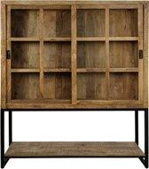 HSM Collection - Vitrinekast Byron - 180 cm - mangohout/ijzer