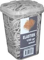 150 gram - Elastiek - wit - 60 x 1.5 mm  - in plastic pot