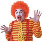 Voordelige oranje clownspruik voor volwassenen