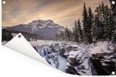 Zonsopkomst in het Nationaal park Jasper in Noord-Amerika Tuinposter 120x80 cm - Tuindoek / Buitencanvas / Schilderijen voor buiten (tuin decoratie)