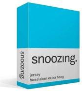Snoozing Jersey - Hoeslaken Extra Hoog - 100% gebreide katoen - 80/90x200 cm - Turquoise