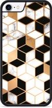 iPhone 8 Hardcase hoesje Black-white-gold Marble