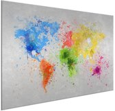 Wereldkaarten.nl - Wereldkaart wanddecoratie kleur aluminium 60x40 cm