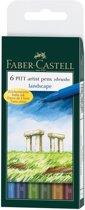 Tekenstift Faber-Castell Pitt Artist Pen 6-delig etui Landscape