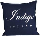 Sierkussen 60x60 cm - Indigo Island Amsterdam - ''Signature embleem'' - linnen donkerblauw- Dons