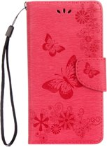 Mobigear Vlinder Bookcase Hoesje Rood Motorola Moto G5 Plus
