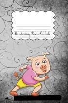 Handwriting Paper Notebook: Pig Black Cover - Handwriting Practice Notebook - Kindergarten - Preschool - Key Stage 1- Longhand - Joined-up writing