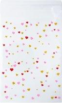 100 x Transparante Uitdeelzakjes voor school, verjaardag en bruiloft - hartjes patroon uitdeel zakjes - 9,5 x 13 cm