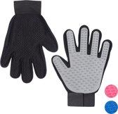 relaxdays vachtverzorgingshandschoen hond kat - borstel handschoen hondenborstel ontharen grijs