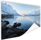 Ersfjordbotn Fjord Noorwegen sneeuw Poster 90x60 cm - Foto print op Poster (wanddecoratie)