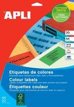 5x Apli Gekleurde etiketten 105x37mm (bxh), rood, 320 stuks, 16 per blad (1597)