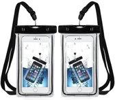 MMOBIEL 2 Stuks Waterdichte Telefoon Hoes - Waterproof Bag - Case / Pouch / Zak - Universeel - Geschikt voor alle Smartphones - tot 6 Inch - Volledig Transparant - Zwart