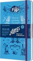 Moleskine 18 maanden agenda 2019-2020 -  Alice in Wonderland - Wekelijks - Large (13x21 cm) - Blauw - Harde kaft