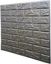 Stickerbehang baksteen- Waterdicht foam behang- Naadloos - Foam wandbekleding- 3d effect - Zilver