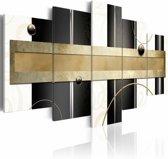Schilderij - Pad van gedachten, Goud/Zwart-Wit, 2 Maten, 5luik