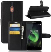 Hoesje voor Nokia 2.1 (2018), 3-in-1 bookcase, zwart