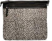 Zwarte schoudertas met cheetahprint