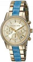 Michael Kors MK6328 - Horloge - 37 mm - (edel)staal/Kunststof - Goudkleurig/Blauw