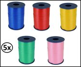 5x Krul lint 5mm assortie 500m