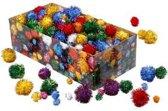 Pom-poms, d: 15-40 mm, circa 400 stuk, glitterkleuren, glitter, 400gr [HOB-51892]