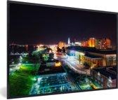 Foto in lijst - Downtown van Baton Rouge in de Verenigde Staten tijdens de nacht fotolijst zwart 60x40 cm - Poster in lijst (Wanddecoratie woonkamer / slaapkamer)