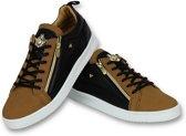 Cash Money Heren Schoenen - Heren Sneaker Bee Camel Black Gold - CMS97 - Bruin - Maten: 41