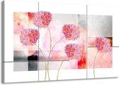 Schilderij   Canvas Schilderij Modern, Bloemen   Grijs, Roze   140x90cm 1Luik   Foto print op Canvas